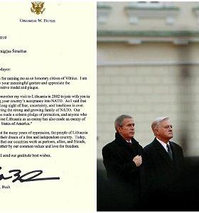 """Vilniaus garbės piliečiu tapęs G.W.Bushas padėkojo: """"Atsimenu savo vizitą Lietuvoje"""""""
