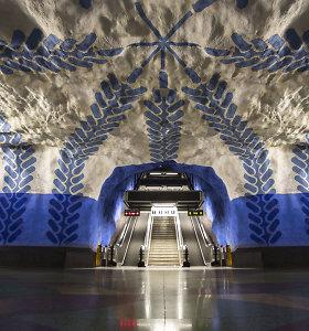 Įspūdingi Stokholmo metro stočių interjerai