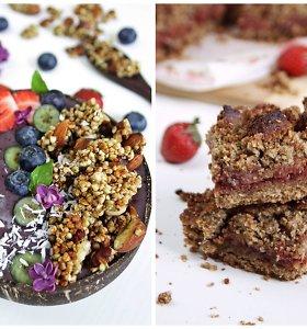 auGalingas pirmadienis: daigintų grikių granola ir trupininis pyragas su braškėmis ir rabarbarais