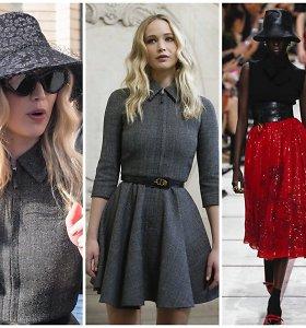 """Jennifer Lawrence švyti – po sužadėtuvių pasirodė """"Dior"""" kolekcijos pristatyme"""