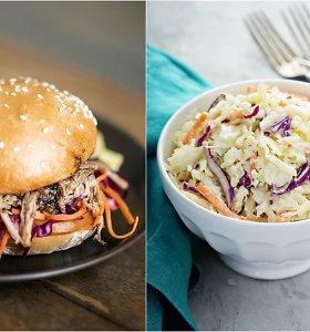 Dviejų spalvų kopūstų salotos, idealios prie kepsnių ar mėsainių