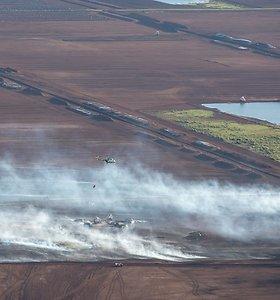 Ugniagesiai: gaisras Traksėdžių durpyne kol kas sustabdytas, bet kylantis vėjas kelia pavojų