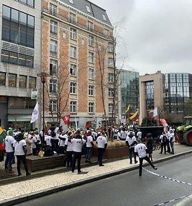 Pasiruošimas Lietuvos ūkininkų protesto akcijai Briuselyje