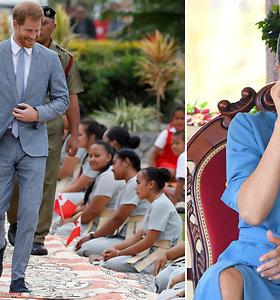 Per pasirodymą Tongoje Meghan Markle netramdė ašarų, o princas Harry nesusilaikė nekvatojęs