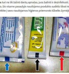 Melas feisbuke: kam skirta spalvota juostelė ant dantų pastos tūbelės?