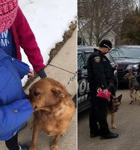 Vėžiu sergančią mergaitę namuose aplankė per 40 tarnybinių policijos šunų