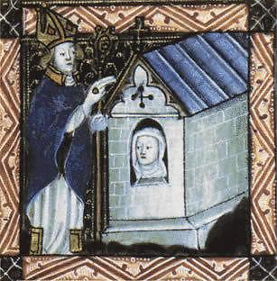 Wikimedia Commons pav./Vyskupas laimina anachoretę, apie 1400 m. paveikslas