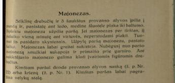 epaveldas.lt nuotr. /Majonezo receptas iš 1925 m.