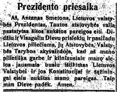 epaveldas.lt nuotr. /A.Smetonos priesaikos tekstas 1919 m.
