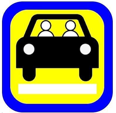 Susisiekimo ministerijos iliustr./Keleivių vežimo už atlygį lengvaisiais automobiliais pagal užsakymą ženklo pavyzdys