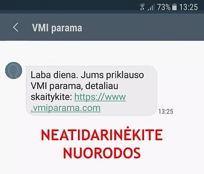 VMI nuotr./Sukčių žinutės