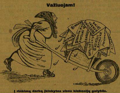 """epaveldas.lt nuotr. /Krikščionis demokratus pašiepianti karikatūra """"Lietuvos žiniose"""" 1926 m."""