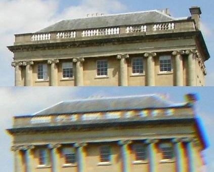 Chromatinė aberacija, antroji teleskopų rykštė. Apačioje vaizdas su chromatine aberacija, viršuje – be