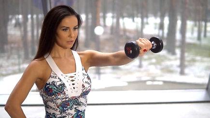 Sportuokite su Indre Burlinskaite. Treniruotė viršutinei kūno daliai
