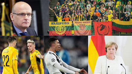 """""""Vieni vartai"""": nauja Lietuvos rinktinės era, kosminis C.Ronaldo ir raudona kortelė A.Merkel"""