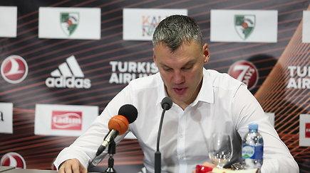 Šarūnas Jasikevičius spaudos konferencijoje apie pirmą pergalę namuose