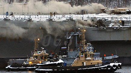 Rusijos lėktuvnešyje kilo gaisras – nukentėjusiųjų padaugėjo iki 10