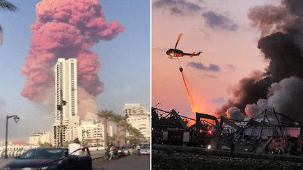 Paviešinti vaizdai iš galingų sprogimų nuniokoto Beiruto: pranešama apie tūkstančius sužeistųjų