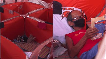 Nepalieka likimo valiai: benamiams įrengtas laikinos prieglaudos centras su specialiomis palapinėmis