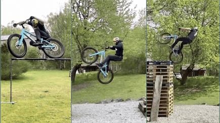 Internautus stebina dviratininkas – namų sąlygomis atlieka neįtikėtinus triukus