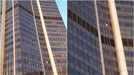 Užkopti ant dangoraižio sumaniusiam  drąsuoliui teko nusivilti – viršūnę pasiekė, bet už savo žygdarbį buvo suimtas