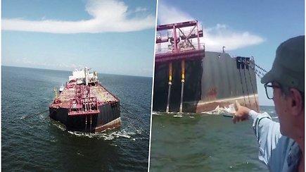 Apgadintas tanklaivis grasina ekologine katastrofa – į jūrą gali išsilieti 1,3 mln. barelių naftos