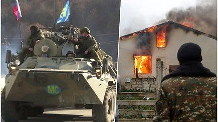 Kautynės dėl Kalnų Karabacho nutrauktos: armėnai išsikrausto iš Azerbaidžano užimtų teritorijų, masiškai padeginėja savo namus