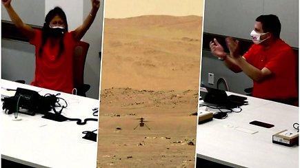 Pirmasis valdomo orlaivio skrydis virš kitos planetos – NASA robotas-sraigtasparnis sėkmingai nusileido Marse