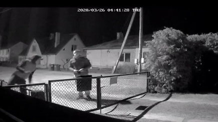 Apsaugos kamerų užfiksuota vagystė iš garažo Alytuje