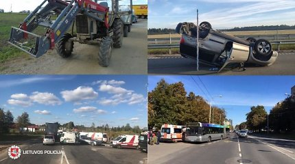 88-iuose antradienio eismo įvykiuose – traktoriai, miesto autobusai ir miško vilkai