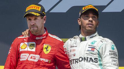 """Kalbos apie """"Formulės 1"""" kontraktus netyla: ar S.Vettelis ir L.Hamiltonas susikeis vietomis?"""