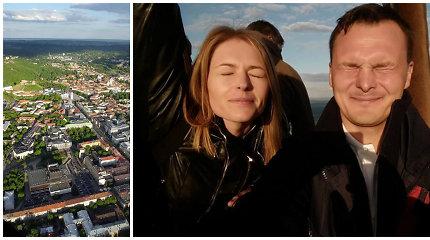 Giedriaus Leškevičiaus pakviesta Agnė Grudytė iš oro baliono apžiūrėjo vakarėjantį Vilnių