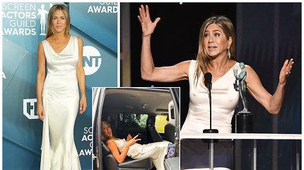 Jennifer Aniston į apdovanojimus važiavo gulėdama – ko tik nepadarysi dėl tobulo įvaizdžio