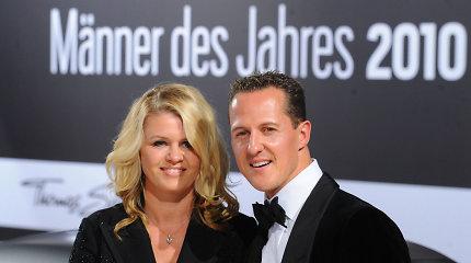 Michaelio Schumacherio žmona, minėdama lenktynininko 50-metį, išplatino žinutę gerbėjams