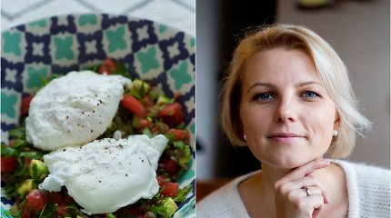 """Knygos """"Prancūzijos virtuvė"""" autorės receptas: be lukšto virti kiaušiniai su lęšių ir pomidorų salotomis"""