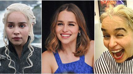 """8 metus blondinę """"Sostų karuose"""" vaidinusi Emilia Clarke pagaliau persidažė savo tamsius plaukus"""