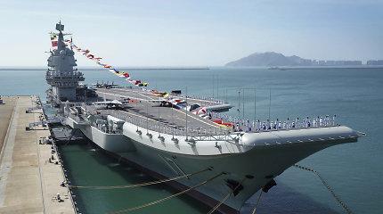 """Kinijos lėktuvnešio """"Shandong"""" grupė dalyvavo pratybose Pietų Kinijos jūroje"""