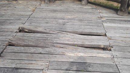Prastėjanti Kadagių slėnio pažintinio tako būklė: kalta pigi mediena?