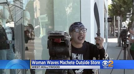 Į Kardashian parduotuvę įsiveržė moteris su pistoletu, netrukus grįžusi su mačete