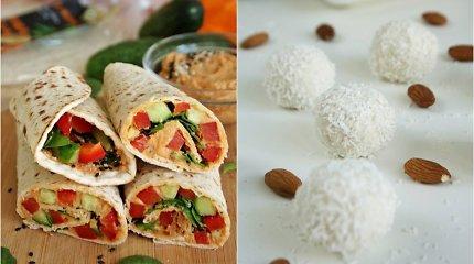auGalingas pirmadienis: suktinukai su džiovintų pomidorų humusu ir kokosiniai saldainiai