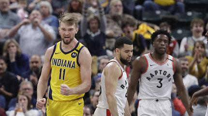 "Domantas Sabonis surengė dvigubo dublio šou, bet ""Pacers"" nesustabdė skriejančių čempionų"