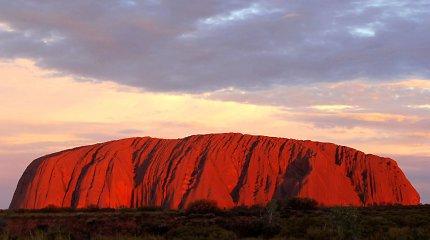 Mįslingi aborigenų piešiniai spalvą keičiančioje Uluru uoloje
