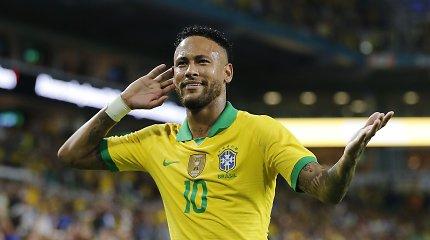 Į Brazilijos rinktinę sugrįžęs Neymaras įmušė įvartį