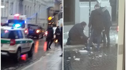 Vilniaus centre nuo stogo kritęs ledo luitas sužeidė praeivę: prireikė medikų ir policijos