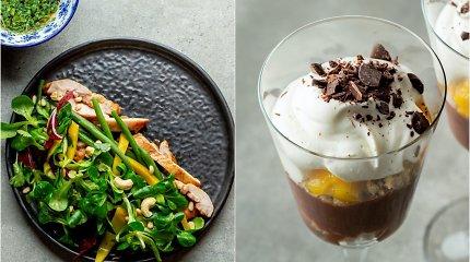 2 patiekalai, kurių akcentu taps mangai: vištienos salotos ir šokoladinis desertas
