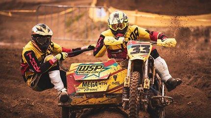 Lietuvos motokroso čempionato starte daugiausiai aistrų sukėlė motociklų su priekabomis dvikovos