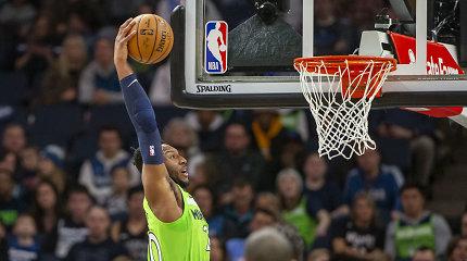 """Klubo tritaškių rekordą pagerinusi """"Timberwolves"""" sudorojo vienus NBA favoritų"""