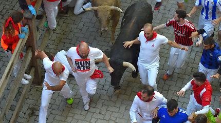 Pamplonoje per paskutinį bėgimą su buliais subadyti 3 žmonės