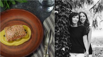 FeedMySister receptas: lėtai kepta lašiša su kalafiorų ir paprikų kremu bei keptaismoliūgais