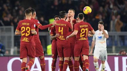 Italijoje po tris taškus įsirašė abu Romos klubai